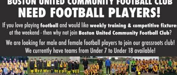 Boston United grassroots football club needs players!