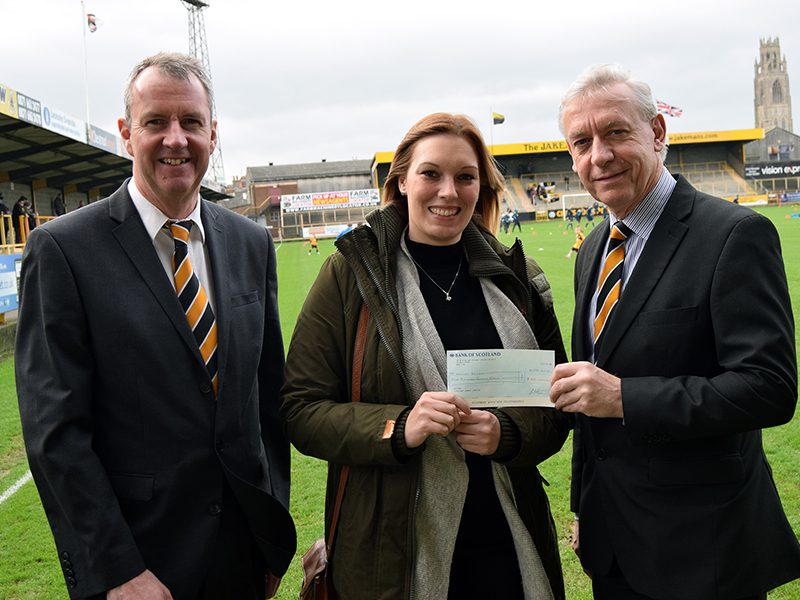 Hayley Nixon, winner of the £100 prize draw for completing Chestnut Homes' Sports and Community Stadium feedback survey.