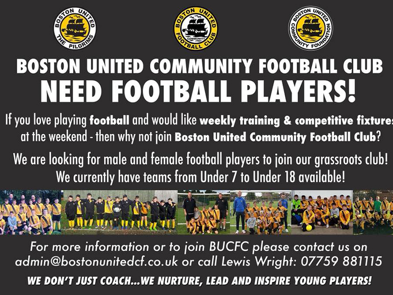 Boston United Community Football Club - grassroots football players needed